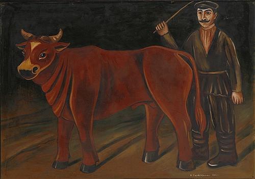 Pirosmani_FarmerWithABull-1916.
