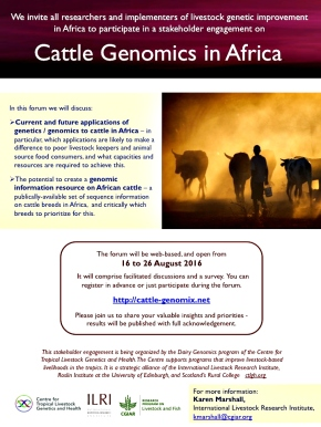 'Cattle Genomics in Africa' discussion forum: 16–26 Aug